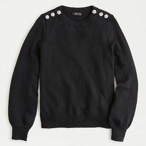 J. Crew Crewneck Sweater with Jeweled Bottons